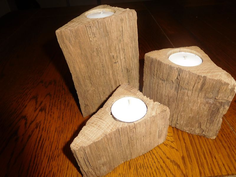 Rustic Oak Candle Holders